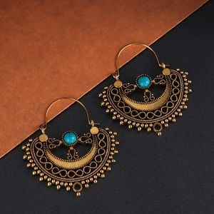 Any 2/$20! Gold Half Circle Turquoise Gem Earrings